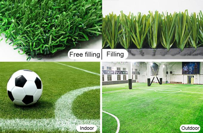 Soft Touching Synthetic Turf Football Field PE 50mm Green SGS Approved
