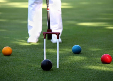 China Croquet Field Hard Wearing Artificial Grass 13mm Bicolor Environment Friendly supplier